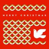 Ευχετήρια κάρτα Χαρούμενα Χριστούγεννας με το πετώντας περιστέρι και το αναδρομικό σχέδιο Στοκ Φωτογραφία