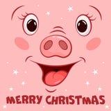 Ευχετήρια κάρτα Χαρούμενα Χριστούγεννας με το πρόσωπο χοίρων κινούμενων σχεδίων διανυσματική απεικόνιση