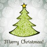 Ευχετήρια κάρτα Χαρούμενα Χριστούγεννας με το χριστουγεννιάτικο δέντρο Στοκ Εικόνα