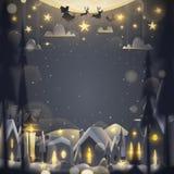 Ευχετήρια κάρτα Χαρούμενα Χριστούγεννας στο ύφος κινούμενων σχεδίων Στοκ Φωτογραφίες