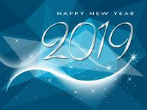 Ευχετήρια κάρτα χειμερινών διακοπών καλής χρονιάς 2019 απεικόνιση αποθεμάτων