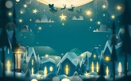 Ευχετήρια κάρτα χειμερινών διακοπών στο ύφος κινούμενων σχεδίων Στοκ Εικόνες