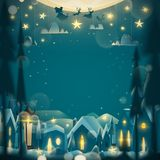 Ευχετήρια κάρτα χειμερινών διακοπών στο ύφος κινούμενων σχεδίων Στοκ Φωτογραφία