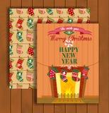 Ευχετήρια κάρτα Χριστουγέννων με έναν φάκελο ελεύθερη απεικόνιση δικαιώματος