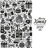 Ευχετήρια κάρτα Χριστουγέννων με τα εύθυμα Χριστούγεννα κειμένων και πολλά χειμερινά ασημένια παιχνίδια Στοκ φωτογραφία με δικαίωμα ελεύθερης χρήσης