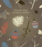 Ευχετήρια κάρτα Χριστουγέννων με τα χειμερινά μούρα Διανυσματική απεικόνιση