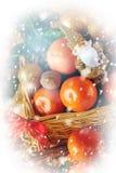 Ευχετήρια κάρτα Χριστουγέννων με την αναδρομική επίδραση Στοκ Φωτογραφία