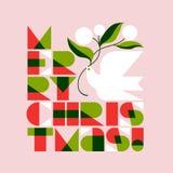 Ευχετήρια κάρτα Χριστουγέννων με την εγγραφή και το περιστέρι Χαρούμενα Χριστούγεννας Στοκ εικόνα με δικαίωμα ελεύθερης χρήσης