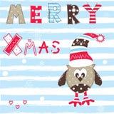 Ευχετήρια κάρτα Χριστουγέννων με την κουκουβάγια Στοκ Εικόνες