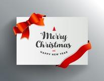 Ευχετήρια κάρτα Χριστουγέννων με τις επιθυμίες Χαρούμενα Χριστούγεννας Στοκ εικόνα με δικαίωμα ελεύθερης χρήσης