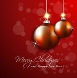 Ευχετήρια κάρτα Χριστουγέννων με τις διακοσμήσεις σφαιρών απεικόνιση αποθεμάτων