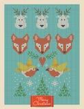 Ευχετήρια κάρτα Χριστουγέννων με τις πλεκτά αλεπούδες, τα deers και τα πουλιά ελεύθερη απεικόνιση δικαιώματος