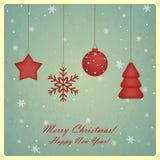 Ευχετήρια κάρτα Χριστουγέννων με το αστέρι, snowflake, Chris Στοκ Φωτογραφία