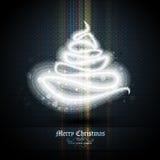Ευχετήρια κάρτα Χριστουγέννων με το δέντρο των φω'των ελεύθερη απεικόνιση δικαιώματος