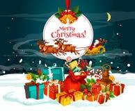 Ευχετήρια κάρτα Χριστουγέννων με το δώρο Santa στο χιόνι ελεύθερη απεικόνιση δικαιώματος