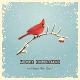 Ευχετήρια κάρτα Χριστουγέννων με το πουλί Στοκ Εικόνα