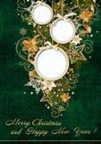 Ευχετήρια κάρτα Χριστουγέννων με το πλαίσιο σφαιρών Στοκ Φωτογραφίες