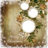 Ευχετήρια κάρτα Χριστουγέννων με το πλαίσιο Στοκ Εικόνες