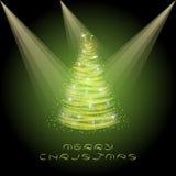 Ευχετήρια κάρτα Χριστουγέννων με το χριστουγεννιάτικο δέντρο Στοκ Εικόνες