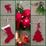 Ευχετήρια κάρτα Χριστουγέννων μωσαϊκών κόκκινος και πράσινος - ύφος χωρών Στοκ Εικόνα