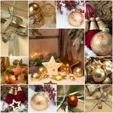 Ευχετήρια κάρτα Χριστουγέννων μωσαϊκών με τη χρυσή διακόσμηση στοκ εικόνες