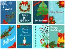 Ευχετήρια κάρτα Χριστουγέννων που τίθεται με το χαριτωμένο χριστουγεννιάτικο δέντρο, αναδρομικά σχέδια santa Στοκ φωτογραφία με δικαίωμα ελεύθερης χρήσης