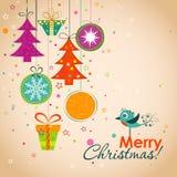 Ευχετήρια κάρτα Χριστουγέννων προτύπων, κορδέλλα, διάνυσμα Στοκ Εικόνες