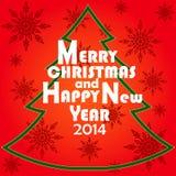 Ευχετήρια κάρτα Χριστουγέννων. Χαρούμενα Χριστούγεννα και καλή χρονιά 2014 που γράφουν, απεικόνιση. Στοκ Εικόνες