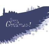 Ευχετήρια κάρτα Χριστουγέννων χειμερινών φτερών Στοκ φωτογραφία με δικαίωμα ελεύθερης χρήσης