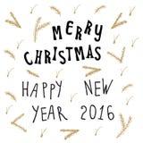 Ευχετήρια κάρτα Χριστουγέννων Χριστουγέννων με την καλλιγραφία εγγραφής Στοκ φωτογραφία με δικαίωμα ελεύθερης χρήσης