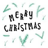 Ευχετήρια κάρτα Χριστουγέννων Χριστουγέννων με την καλλιγραφία εγγραφής Στοκ Εικόνα