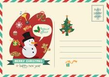 Ευχετήρια κάρτα ύφους ταχυδρομικών τελών Χριστουγέννων Στοκ Εικόνες