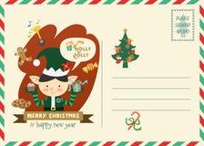 Ευχετήρια κάρτα ύφους ταχυδρομικών τελών Χριστουγέννων Στοκ εικόνα με δικαίωμα ελεύθερης χρήσης