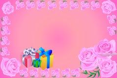 Ευχετήρια κάρτα, δώρο, τριαντάφυλλα Στοκ Εικόνες
