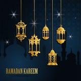 Ευχετήρια κάρτα Ramadan με το χρυσό ισλαμικό αραβικό φανάρι Το Ramadan Kareem σημαίνει ότι Ramadan είναι γενναιόδωρο r απεικόνιση αποθεμάτων