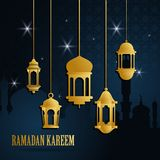 Ευχετήρια κάρτα Ramadan με το χρυσό ισλαμικό αραβικό φανάρι Το Ramadan Kareem σημαίνει ότι Ramadan είναι γενναιόδωρο r ελεύθερη απεικόνιση δικαιώματος