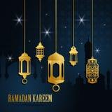 Ευχετήρια κάρτα Ramadan με το χρυσό ισλαμικό αραβικό φανάρι Το Ramadan Kareem σημαίνει ότι Ramadan είναι γενναιόδωρο r διανυσματική απεικόνιση