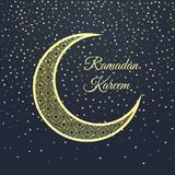 Ευχετήρια κάρτα Ramadan στο σκούρο μπλε υπόβαθρο Στοκ Εικόνες