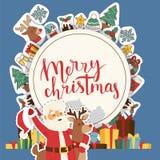 Ευχετήρια κάρτα Santa καλής χρονιάς Χριστουγέννων 2019 και ευτυχείς διακοπές εμβλημάτων υποβάθρου κοστουμιών παιδιών παιδιών διαν απεικόνιση αποθεμάτων