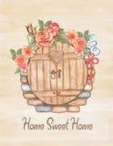 Ευχετήρια κάρτα Watercolor, θέρμανση σπιτιών ή γάμος Στοκ Φωτογραφία