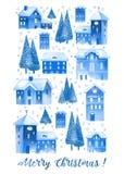 Ευχετήρια κάρτα watercolor Χριστουγέννων με τα σπίτια και τα δέντρα στοκ εικόνα με δικαίωμα ελεύθερης χρήσης