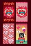 Ευχετήριες κάρτες αγάπης ημέρας βαλεντίνων σε 4 παραλλαγές στοκ εικόνες