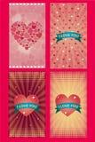 Ευχετήριες κάρτες αγάπης ημέρας βαλεντίνων ελεύθερη απεικόνιση δικαιώματος