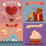 Ευχετήριες κάρτες ημέρας του ευτυχούς βαλεντίνου διανυσματική απεικόνιση