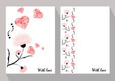 Ευχετήριες κάρτες με τα αφηρημένα ρόδινα λουλούδια στο εθνικό ύφος για το de Στοκ Φωτογραφίες