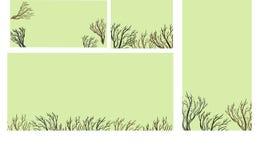 Ευχετήριες κάρτες με το δαντελλωτός δέντρο Στοκ εικόνα με δικαίωμα ελεύθερης χρήσης
