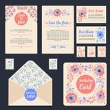 Ευχετήριες κάρτες που τίθενται με τα λουλούδια ελεύθερη απεικόνιση δικαιώματος