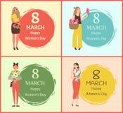 Ευχετήριες κάρτες στις 8 Μαρτίου ημέρας των ευτυχών γυναικών με τα κορίτσια ελεύθερη απεικόνιση δικαιώματος