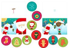 Ευχετήριες κάρτες Χριστουγέννων με το santa και το χιονάνθρωπο σε δύο παραλλαγές ελεύθερη απεικόνιση δικαιώματος