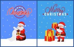 Ευχετήριες κάρτες Χριστουγέννων με Santa και τα δώρα απεικόνιση αποθεμάτων